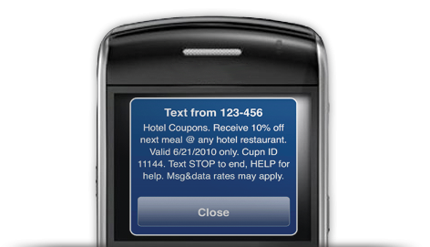 example of sms marketing or text message coupon