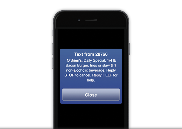 sms marketing message example