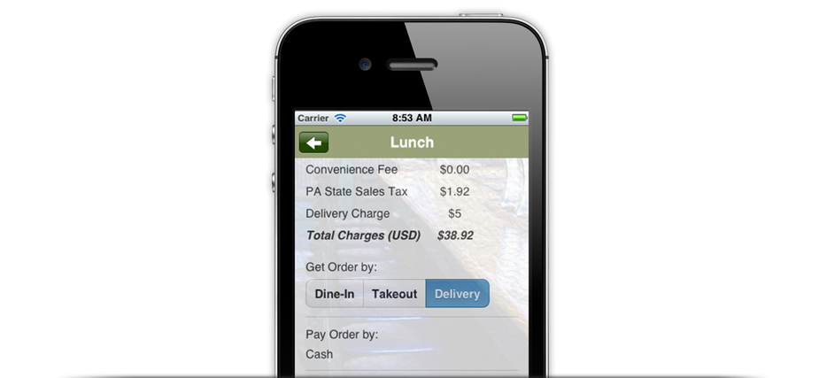mobile ordering website
